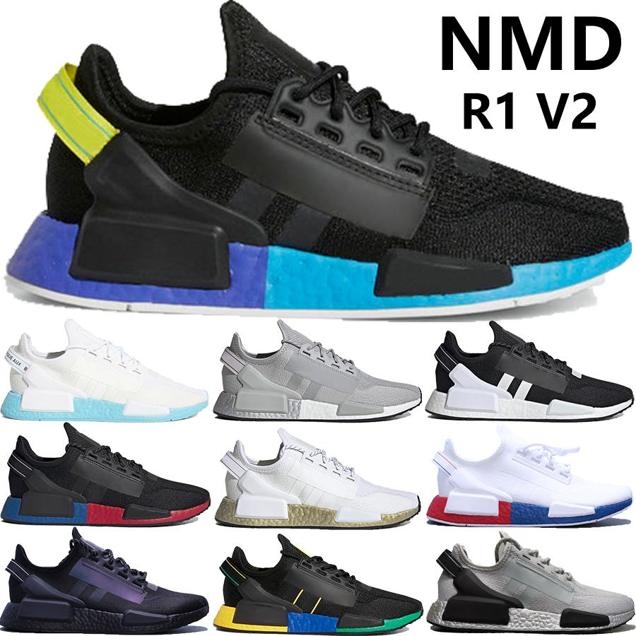 New Japan Nmd R1 V2 Mens Running Shoes Black Carbon Shock Yellow