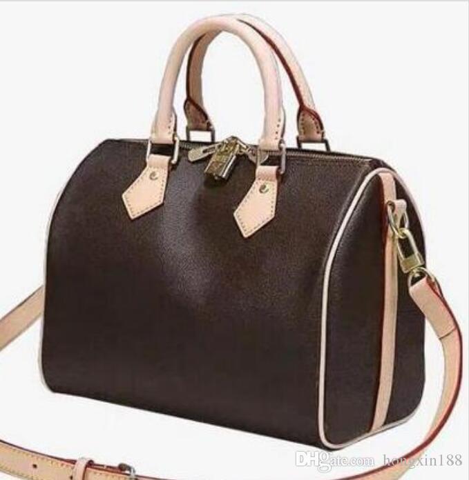 Neue Tasche Oxidation Rindsleder Schulter Shopping Tote Leder Handtasche 100% mit 30/25/30/35 und Key Fashion Speedy Lock Classic Canvas B WDMCX