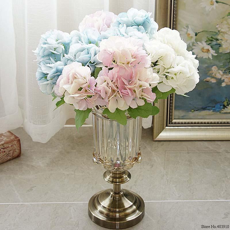 5 Tête Hydrangea Fleurs artificielles Bouquet blanc Petite soie Faux Fleurs Floral Faux Fleurs mariage bleu Accueil Party Decoration