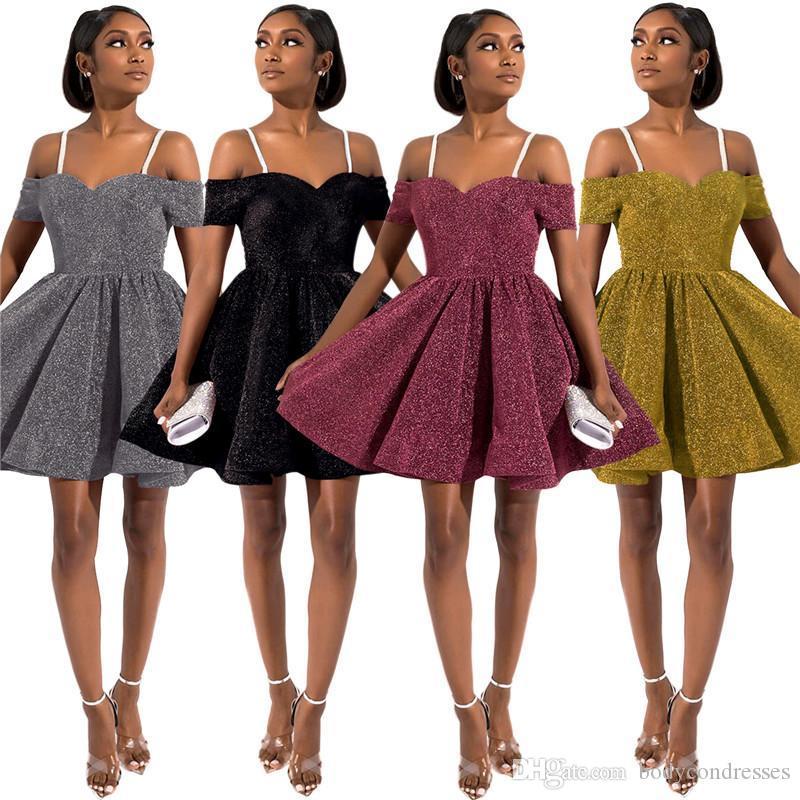 Partido para mujer Gallus atractivo de los vestidos de la manera de la cremallera con paneles que brillan sin respaldo para mujer, fiesta de los vestidos ocasionales Las mujeres Ropa
