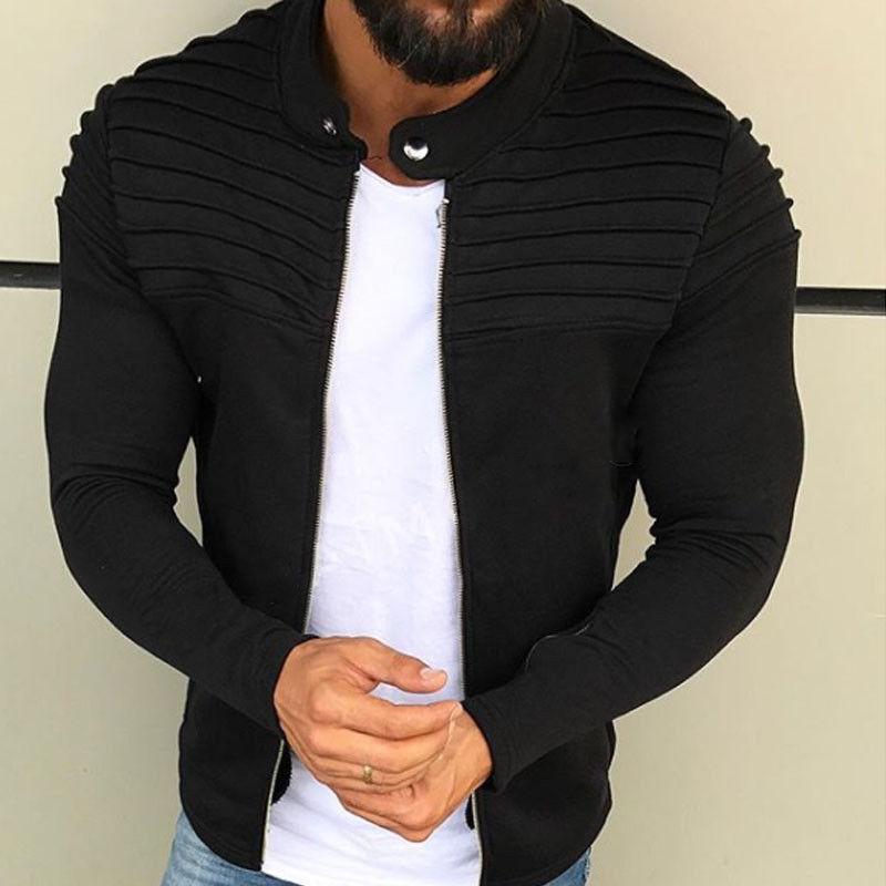 Men's Winter Pleats Slim Stripe Fit Raglan Zipper Long Sleeve Top Coat Mens Baseball Jackets