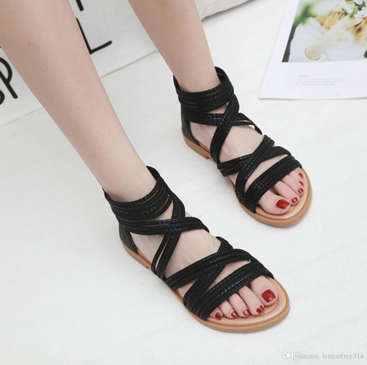 Womens Open Toe Cross Strap Sandals