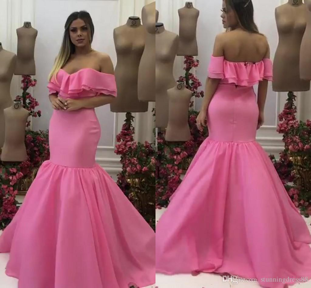 Elegant 2021 Water Malon Mermaid Prom Bridesmaid Dresses Off the shoulder with Short Sleeves Organza Long Evening Party Dress Formal Gowns