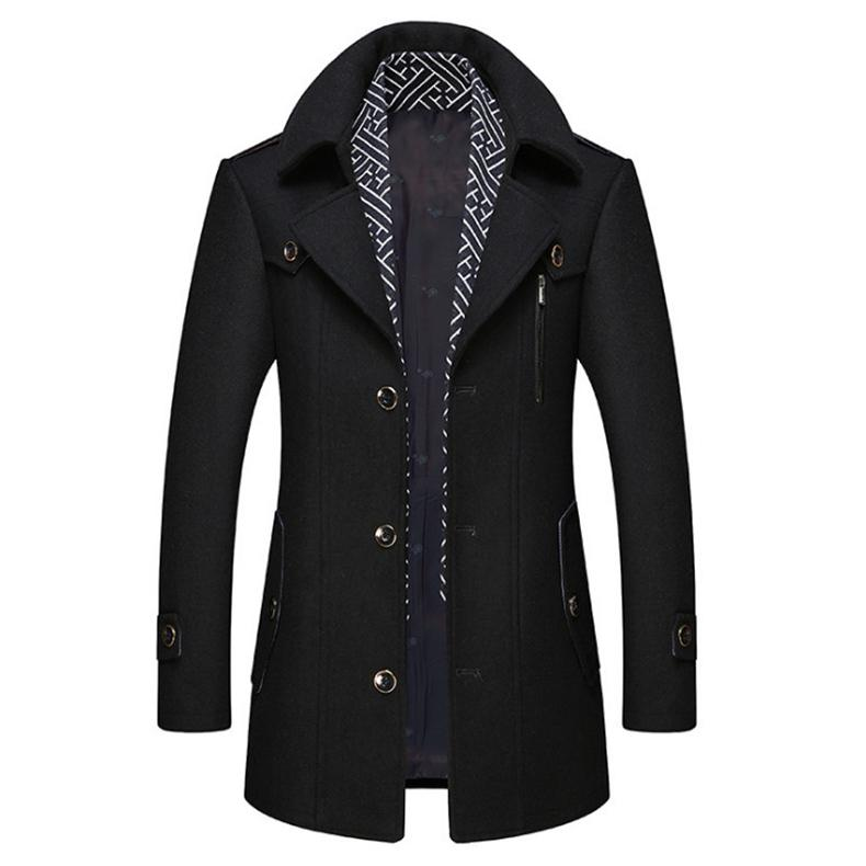 Männer Wollmischungen Boutique Mantel Männer Herbst Winter Schal Abnehmbare lange Wollschichten Männliche Casual Jacke Abrigo Hombre