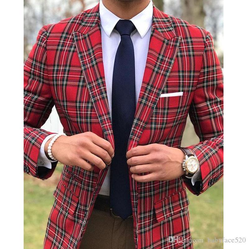 Zweiteilige Plaid Männer Anzüge für Hochzeit Bräutigam Smoking Slim Fit Mann Anzug spitzen Revers Blazer Hosen Gewohnheit 2019 Hergestellt