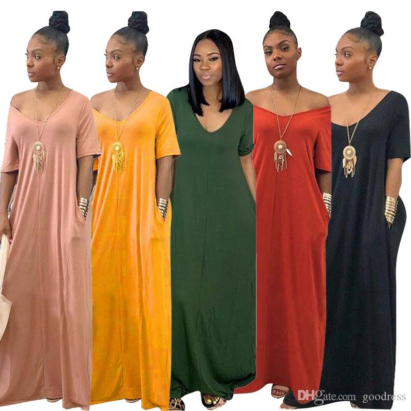 Women Loose Maxi Dress solid Sexy V neck Off Shoulder Short sleeve Long dress with Pocket Summer casual Beach Sundress clothing plus sizes