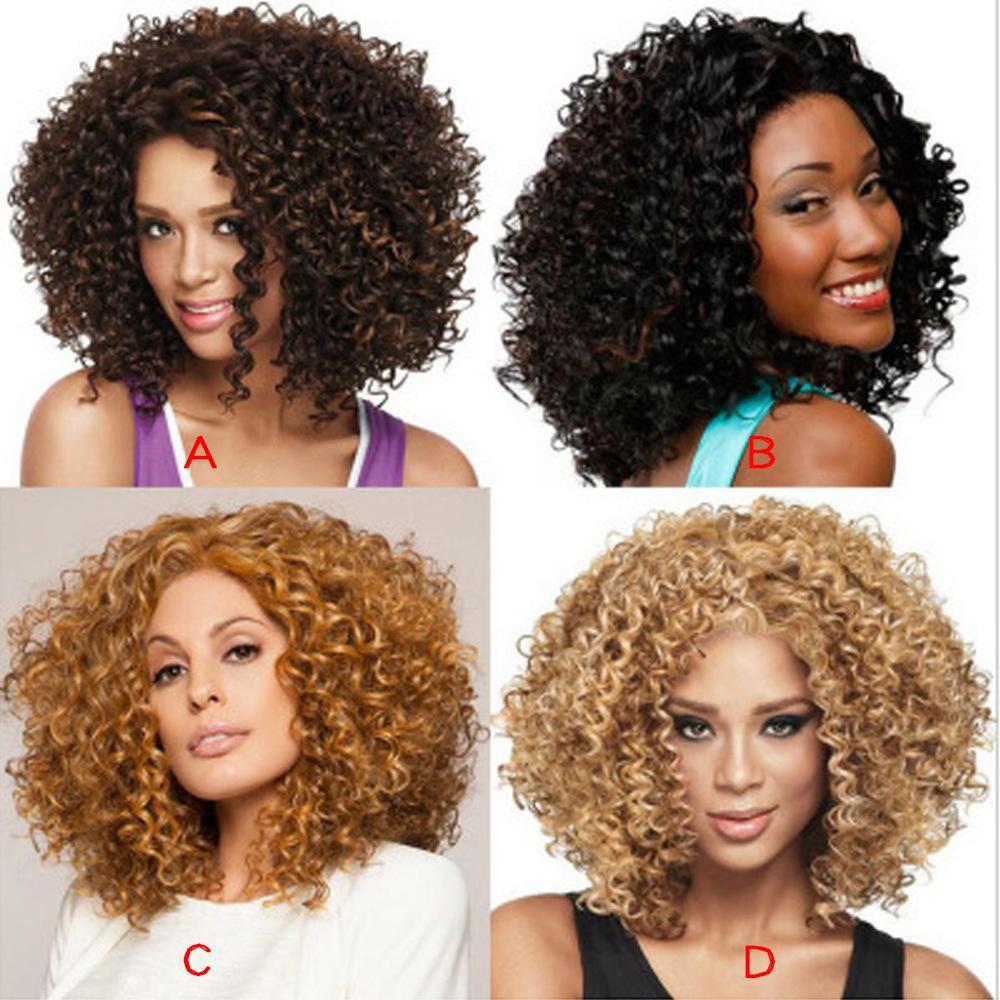 Caldo! Parrucca riccia sintetica parrucca riccia crespi 14inch per le donne Naturelle Parrucche nere afroamericane Cosplay Golden Beauty