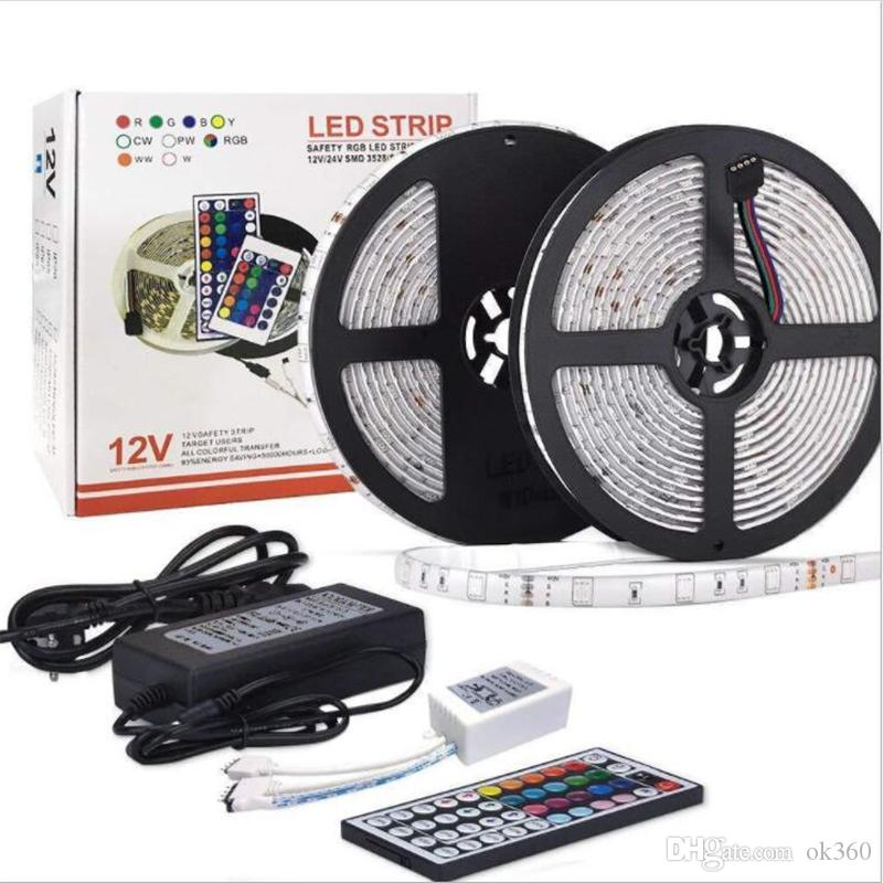 RGB LED Strip luz 5050 Fita flexível SMD luz fita Com 24Key 44Key IR controle remoto 12V Power Adapter 5M 10M 110V-240V
