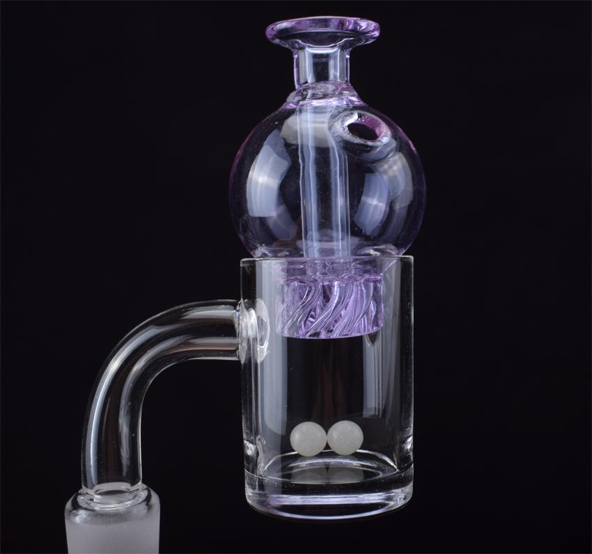 2021 Nuovo chiodo di quarzo Banger con bolle di rotazione tappo di carboidrati e terpe perla 10mm 14mm 18mm giunto a 45/90 gradi per bong di vetro