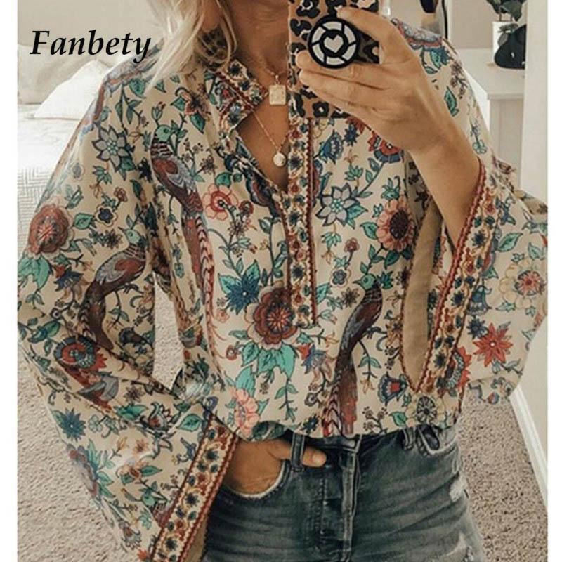 Fanbety плюс размер осень шикарные блузки женщины Павлин цветочный принт рубашки с длинным рукавом Женщины Повседневная V-образным вырезом Boho блузка топы женский