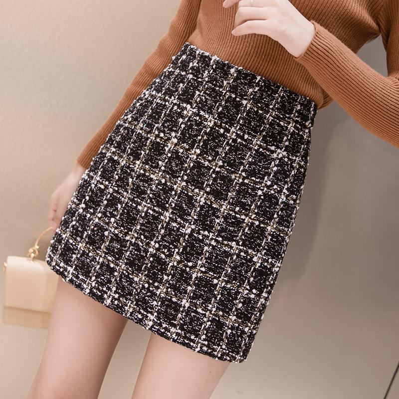 Black Tweed юбка плед высокая талия осень зима женщин корейский элегантный Jupe Femme милый днище для дам линии короткие мини-юбки