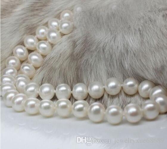 10-11 MM +++ Akoya SOUTH SEA White Pearl Necklace 925silver Gold Clasp