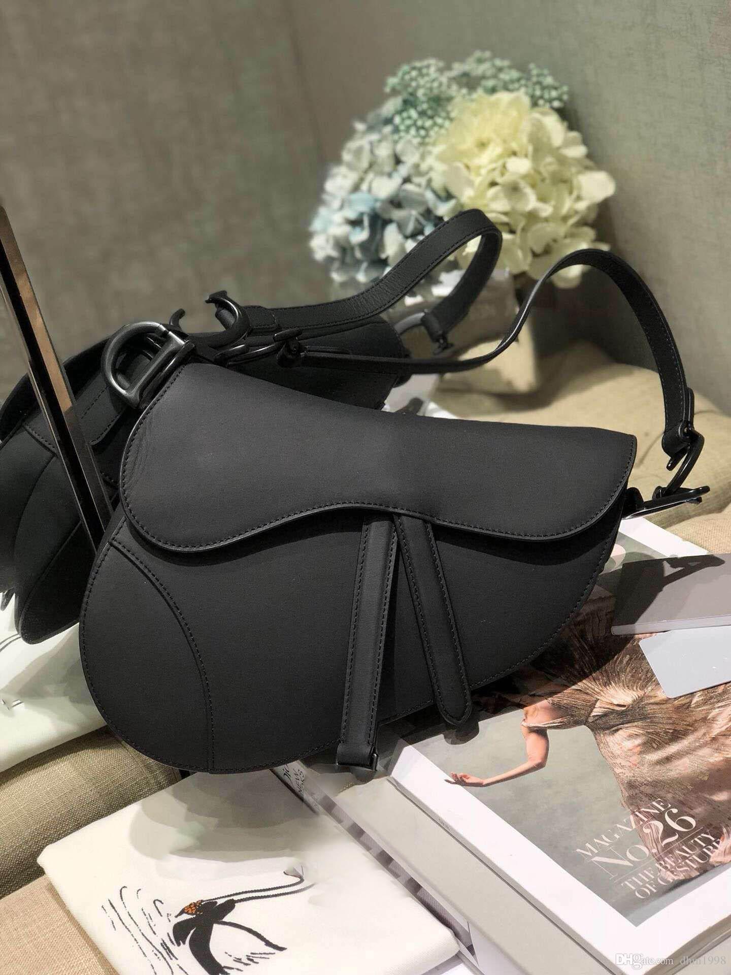 20 Trendy Yeni Bayanlar Mat Siyah Eyer Çanta Büyük Akşam Parti Hediye Büyük hizmet Romantik Omuz Çantası Çantası ile Kutusu