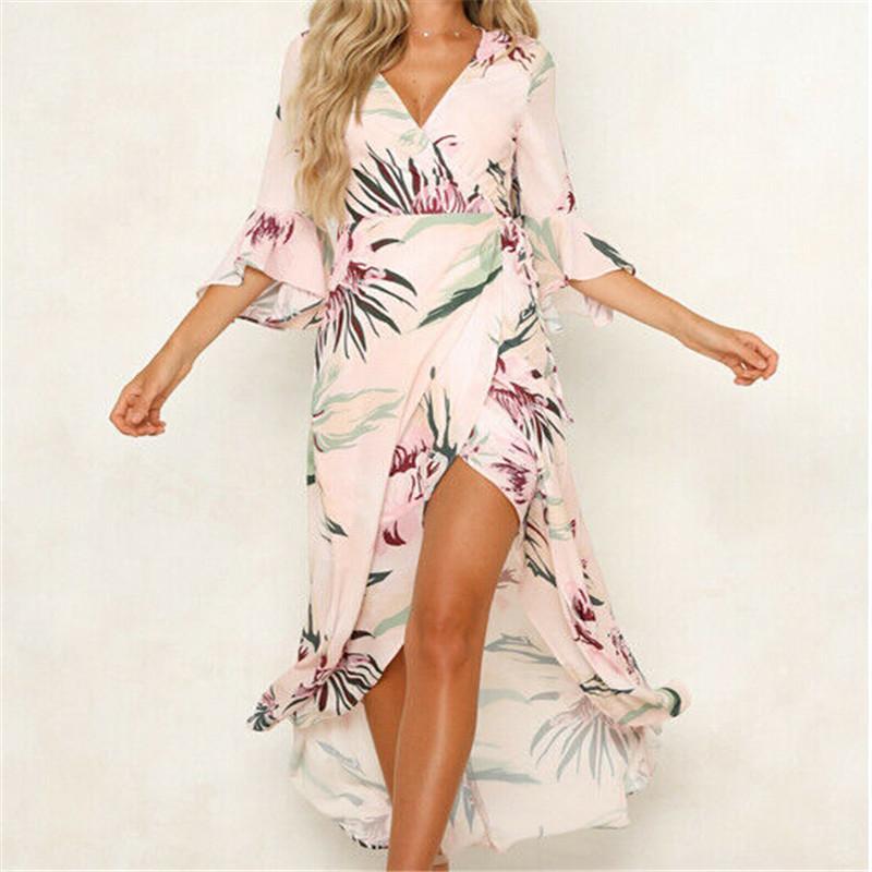 Frauen Ditsy Blumendruck Hoch Split-Kleid-Sommer-reizvolle V-Ansatz Strand Boho Kleid Short Sleeve Schärpen Maxi lange Kleider Plus Size