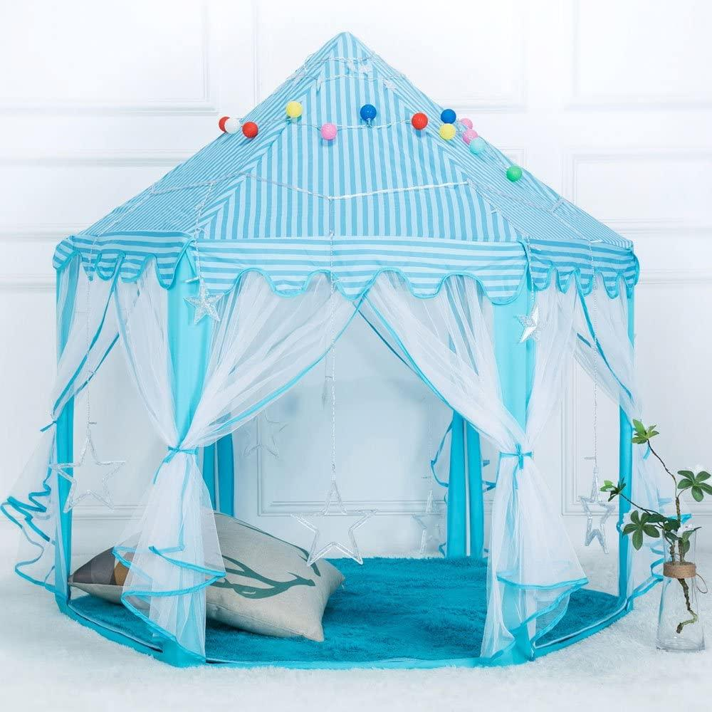 Thxbyebye Surprise Baby Gift 1.4m Diameter 210T Pongee Princess Castle Play House Large Outdoor Kids Play Tent for Girls Blue