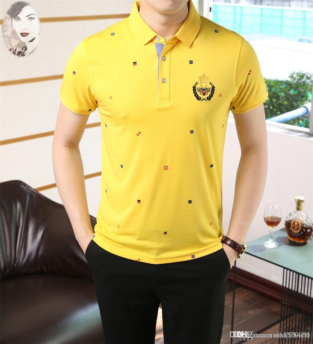 verão homens de manga curta camisa de T camisa de lapela meia manga britânica logotipo popular 100% pólo dos homens do algodão