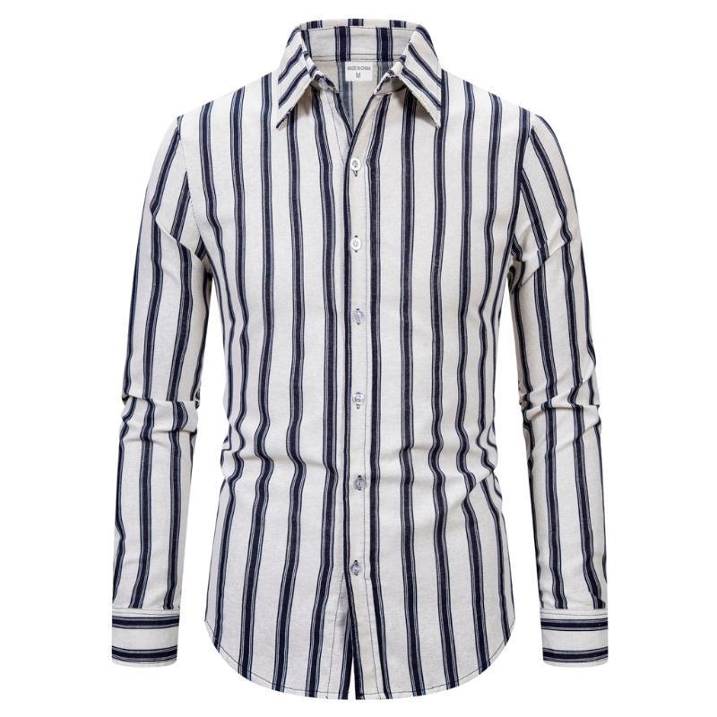 Camisa para hombre de algodón solo pecho camisa para hombre Tamaño de diseño de moda casual para hombre de manga larga de algodón de la solapa de rayas Mejor Asiático