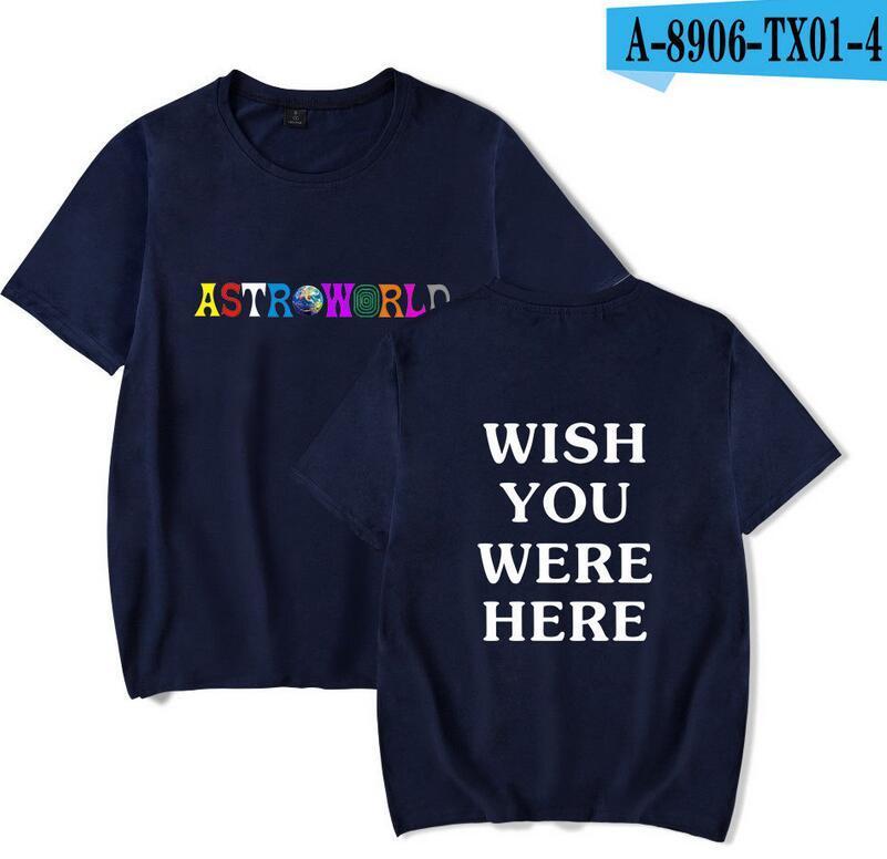 Das T-Shirt 2018 der Sommer-Männer Travis Scotts ASTROWORLD Schwarzes weißes blaues graues Rundhals-T-Shirt Buchstaben Druck Hip Pop Rapper T-Shirt