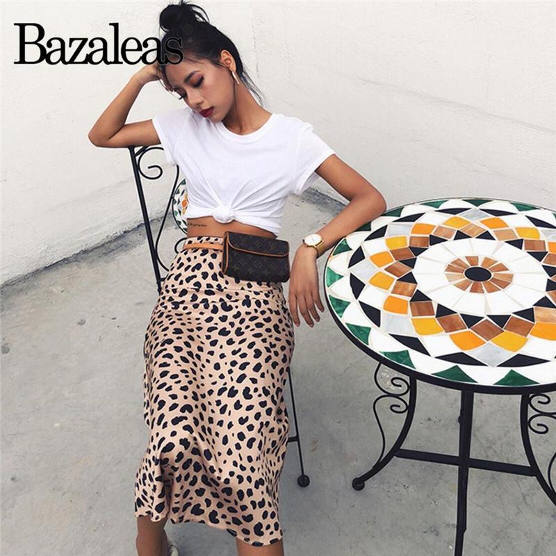 las mujeres del patrón de la alta cintura de la vendimia Bazaleas Midi Faldas leopardo falda de las mujeres atractivas adelgazan salvajes falda de estilo casual deslizamiento V191108 falda