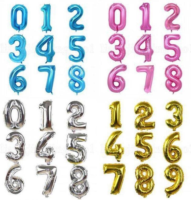 32 Inch hélio balão de ar Número Letter Shaped Partido Evento Ouro Prata inflável Ballons aniversário de casamento Decoração