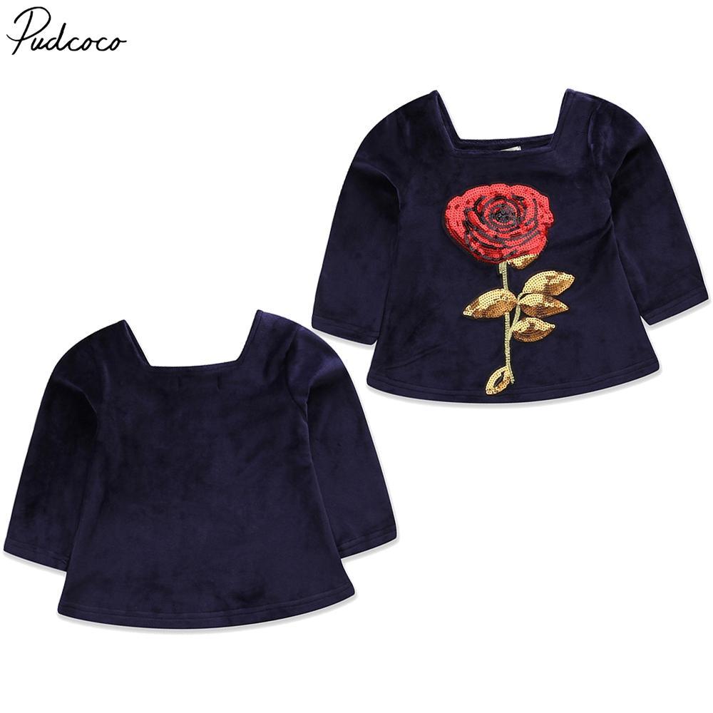 Pudcoco bonitos do bebê crianças Meninas Roupas de veludo Sequins subiu de impressão manga comprida Praça Collar Mini vestido 2-6years Pudcoco