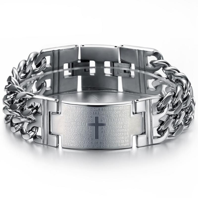 FREE SHIPPING Jewelry stainless steel cuban curb chain Cross ID Bracelet 22MM WIDE .22cm lenght 8.66'' Gold silver black Punk