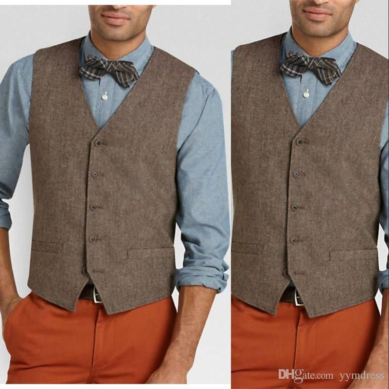 2019 Brown Groom Vests Single breasted British Style Mens Suit Vests Slim Fit Mens Dress Prom VestWedding Waistcoat