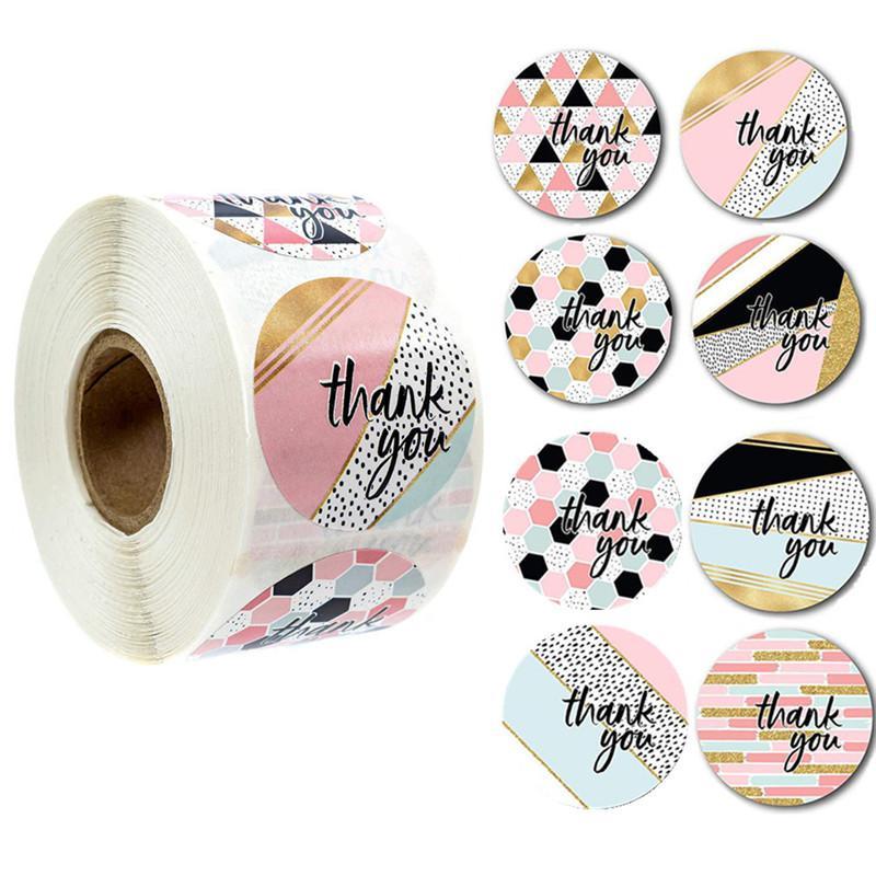 1000pcs Ronda etiquetas Kraft etiqueta engomada de papel de grageas de caramelo bolso de la flor caja de regalo del arte Embalaje bolso de la boda Gracias las etiquetas engomadas