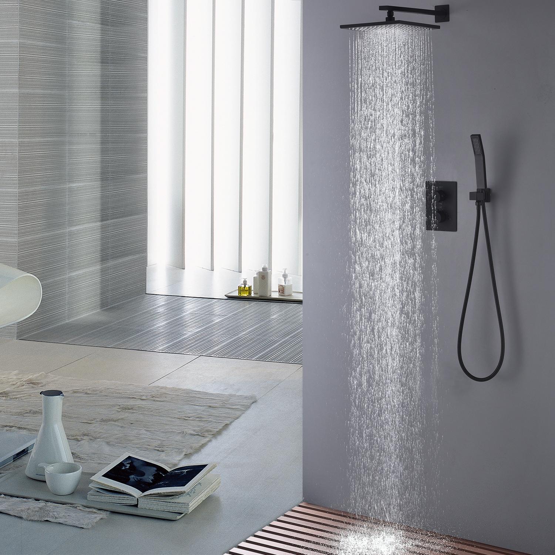 2019 Brass Black Shower Set Bathroom Thermostatic 10 Inch Rain Shower Head Faucet Shower System Spout Diverter Mixer Handheld Spray From Jmhm 330 66