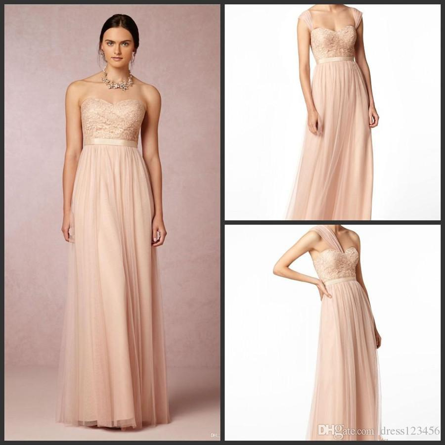 Nouvelles robes de demoiselles d'honneur blush pour pas cher long plancher Vintage dentelle robes de soirée dos nu demoiselle d'honneur robes de bal