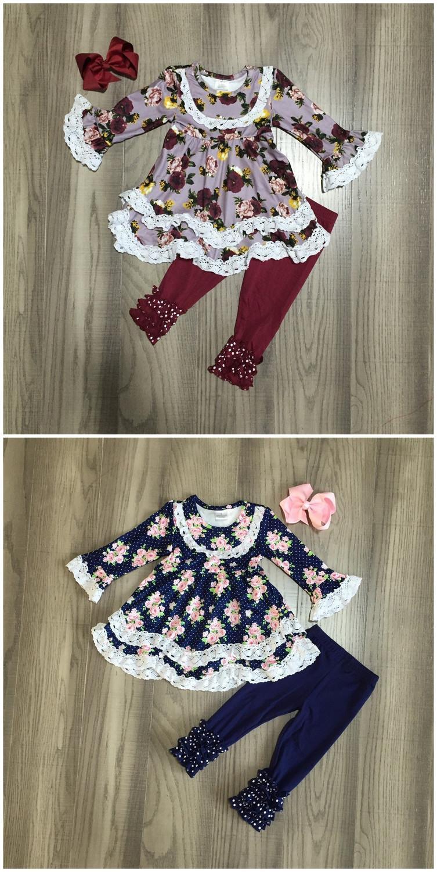 bebê menina roupas meninas de inverno roupas meninas vestido floral com vinho rendas hem roupa vermelha boutique meninas calça com CY200516 arco