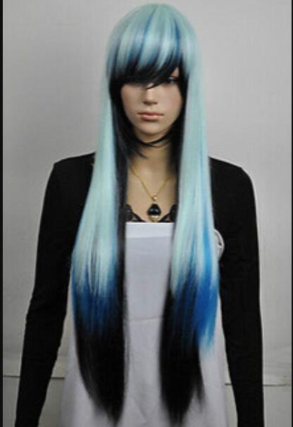 Парик бесплатная доставка новый шарм лолита синий черный и прямой анимационный парик анимации