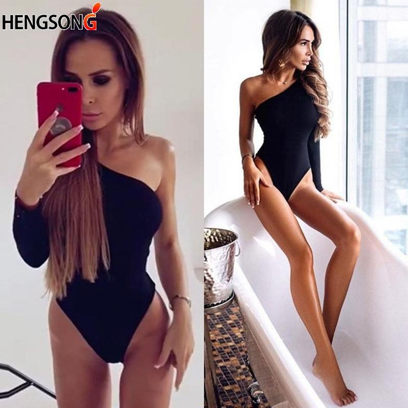 Traje de baño de las mujeres Mujeres de una pieza, traje de baño, hombro, empuje hacia arriba, traje de baño Sólido negro Monokini Body MAILLOT DE BAIN BIKINIS 2021