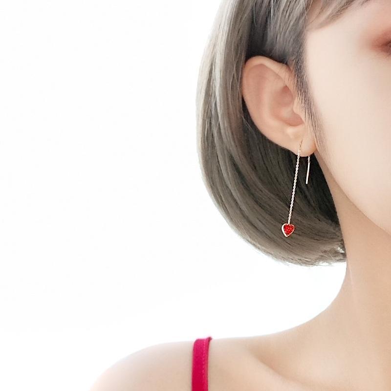 Сян нан 925 Sterling Silver Little Red Любовь серия провод ухо японские и корейского стиль Сладких серьги Темперамент Wild Ins