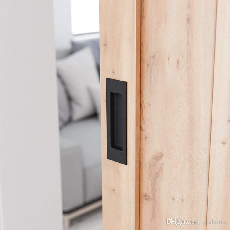 أسود سبائك الألومنيوم الحظيرة انزلاق الباب خفية مقابض سحب دافق للأبواب الداخلية