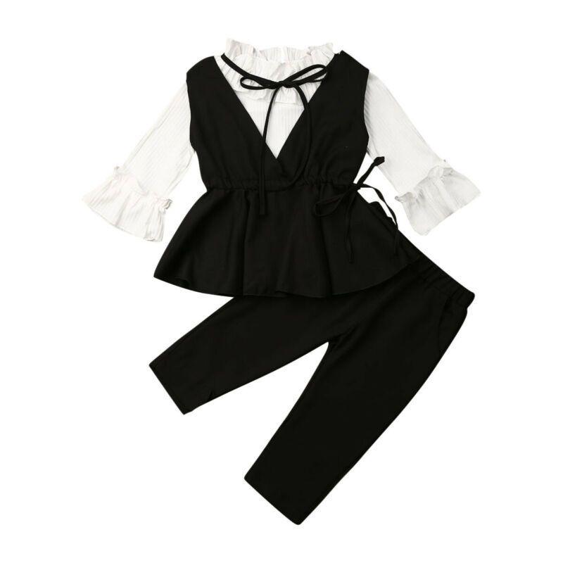 Bebek Yürüyor Bebek Kız Giyim 3PCS Parti Biçimsel takım elbise CY200515 setleri Flare Uzun Kollu V yaka Suit fırfır Yelek Uzun Pantolon ayarlar