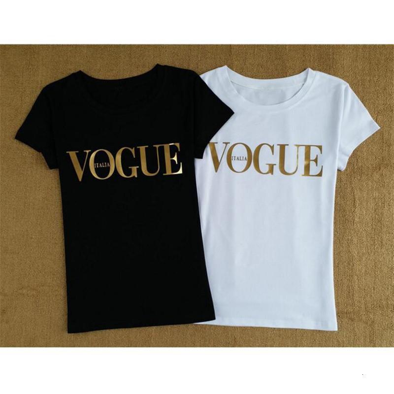 Tops para mujer diseñador de las mujeres camisetas camiseta color oro Vogue tapas de las mujeres del verano del cuello de O Camiseta Femme algodón mujeres de la camiseta de Harajuku