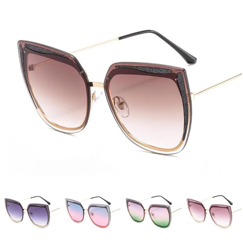Fashion Cat Lens Sunglasses Sun Goggles Women Eyeglasses Anti-UV Glasse Rimless Ornamental Gradient Spectacles Color Eye A++ Soktk