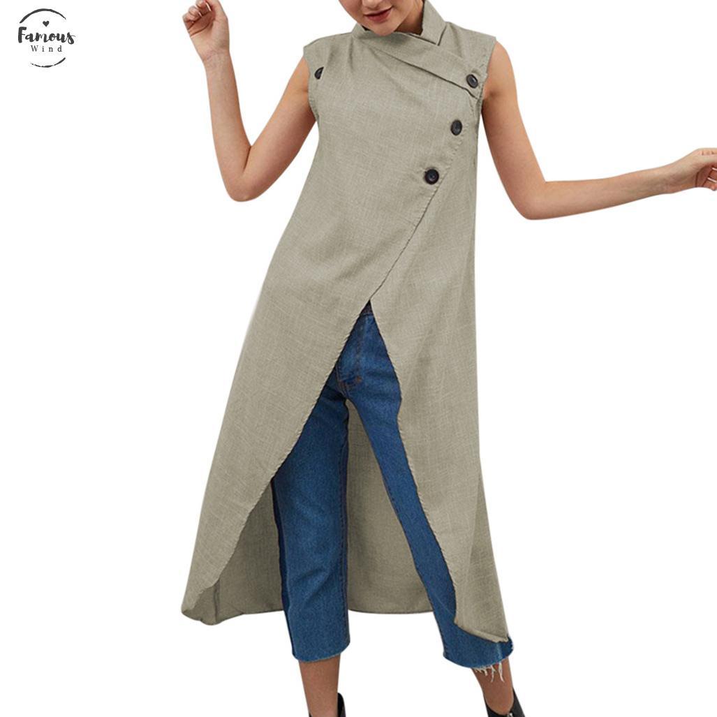 Large Size 5Xl Frauen-Damen unregelmäßiges Kleid Baumwolle Leinen Vestidos Stehkragen Volltonfarben Weiße Kleider mit Knöpfen Mujer