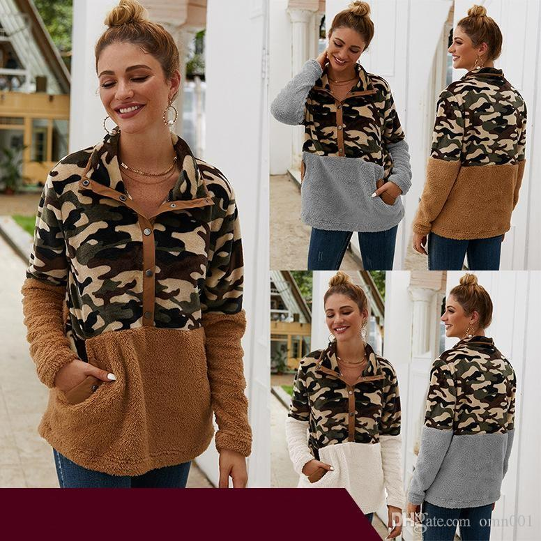 Women Plush Sweater With Button Camouflage Prints Ladies Pullover Top Contrast Color Clothing Apparel Autumn And Winter 36 48yb E1