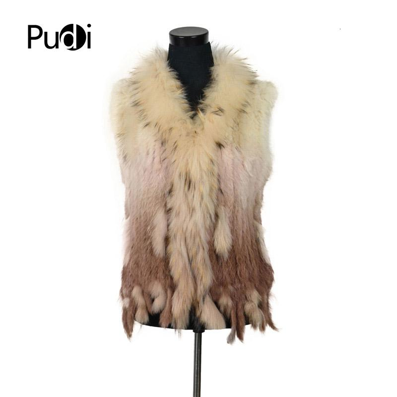 VR001-17 mujeres libres del envío chaleco de piel de conejo auténtica natural con la piel del mapache chaleco de cuello / chaquetas de punto de conejo rex Y190925