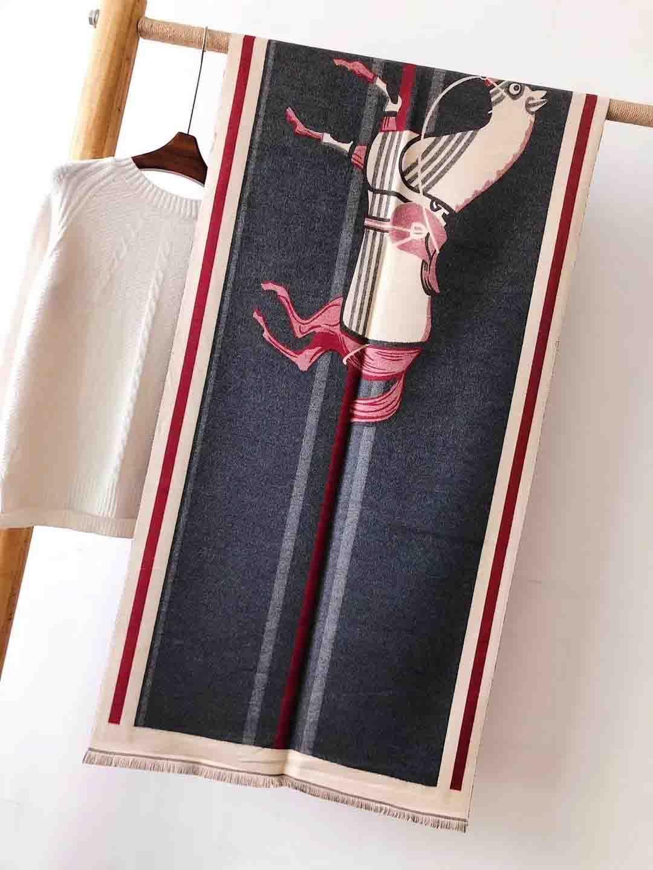 Luxe Femmes Logo Clover Hiver chaud Pashmina Paris Marque Bleu Couverture Poncho Cachemire Scarfs Stole Joker Big Pashminas 180 * 70cm