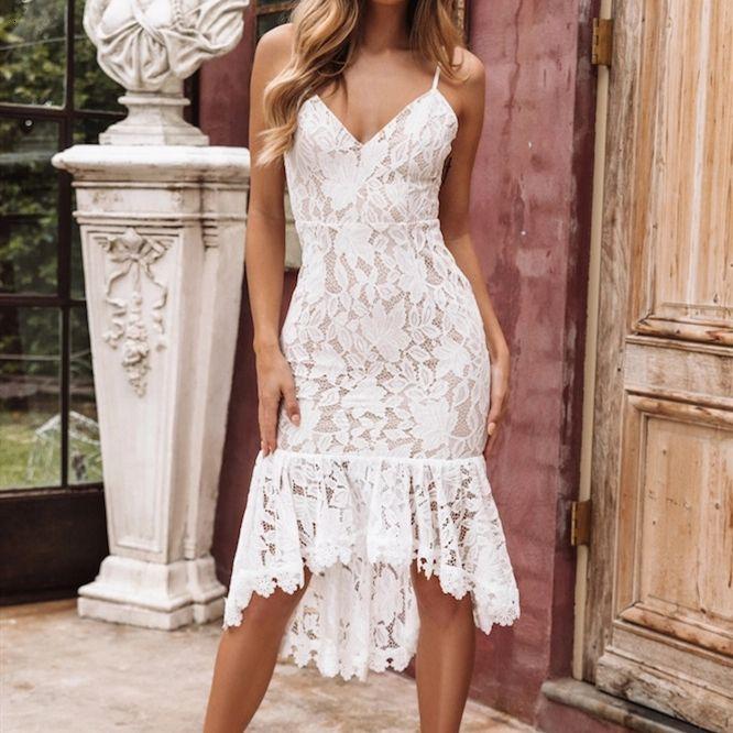 Lady nuova delle donne senza maniche in pizzo floreale Sundress Moda Donna V Neck spiaggia di estate con spalline Maxi Midi Abito elegante convenzionale