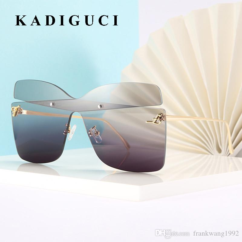 KADIGUCI Büyük Boy Kare Güneş Kadınlar UV400 Kara Güneş Gözlükleri İçin Kadın Big Çerçevesiz Gözlük Gözlük Aksesuarları K401