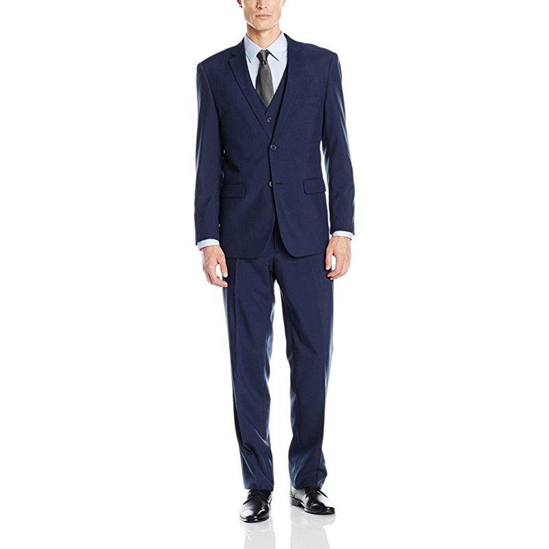 Custom Made Navy Blue Men's Suit Three Piece Two Button Suit Groomsmen Wedding Suits For Men Groom Wear (Jacket+Pants+Vest)
