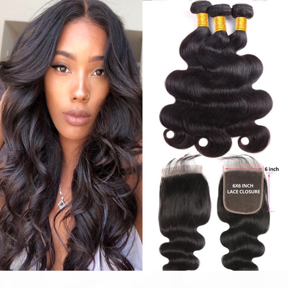 Virgin del brasiliano di fasci di capelli con 6x6 pizzo corpo di chiusura di colore dell'onda naturale 6X6 chiusure superiori con dei capelli del bambino con 3 fasci