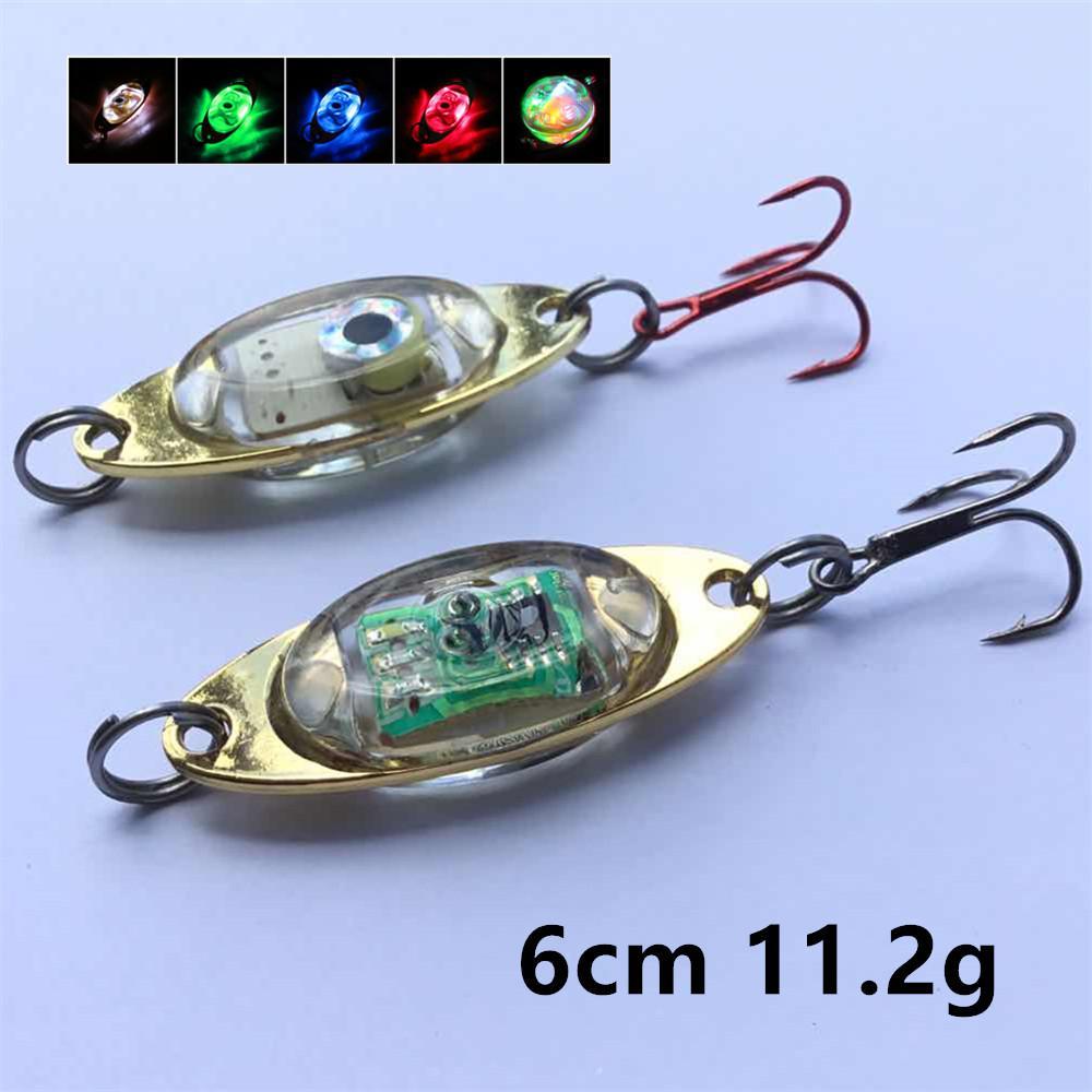 10 шт. / лот LED привлечение рыбы лампа 6 см 11.2 г VIB ложки металлические приманки приманки 4# тройной якорь крюк рыболовные крючки BLU_153