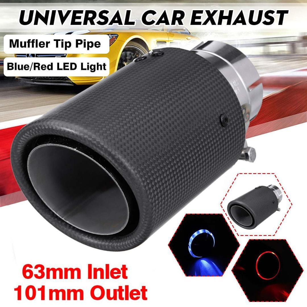 US Stock 1x 63mm Car Black Stainless Steel Exhaust Pipe Muffler Replacement Part