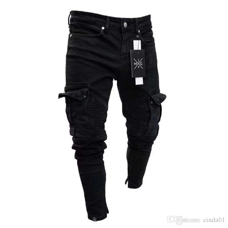 Mens Pencil Jeans Small Hole Zipped Solid New Fashion Washed European And American Wind Casual Style Pants