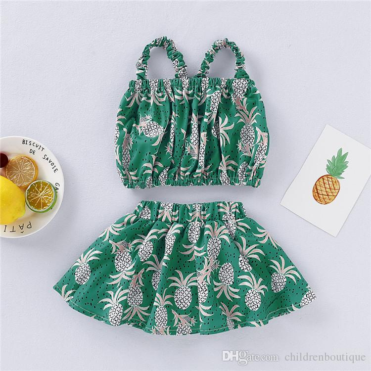 New Baby Clothes Newborn Baby Girls Clothes Sets Fashion Infant Summer Pineapple Printing A Navel Revealing Tops+Skirts 2pcs Sets Outfits